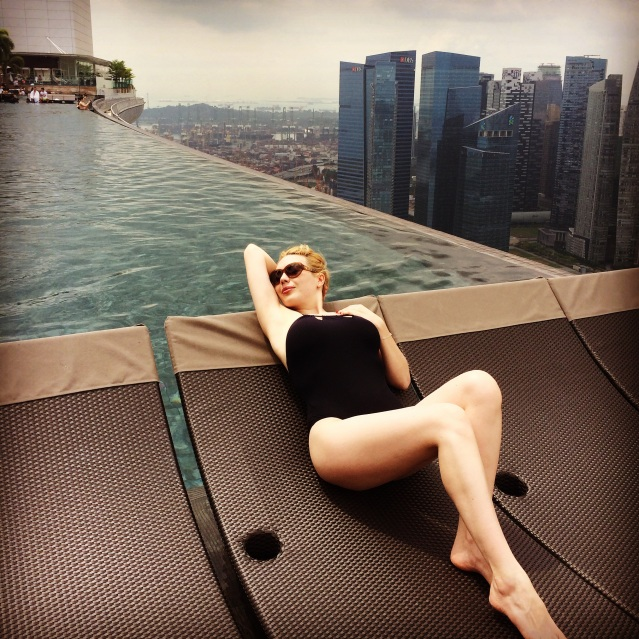 lounging at the pool in Marina Bay Sands Sky Park